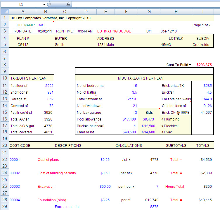 Free construction cost excel spreadsheet how to cost Home builder estimate